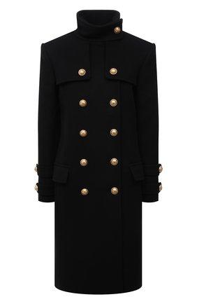 Женское пальто из шерсти и кашемира BALMAIN черного цвета, арт. WF1UC000/W006   Фото 1 (Материал подклада: Вискоза; Материал внешний: Шерсть; Рукава: Длинные; Длина (верхняя одежда): До колена; Стили: Гламурный; 1-2-бортные: Двубортные)