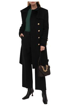 Женское пальто из шерсти и кашемира BALMAIN черного цвета, арт. WF1UC000/W006   Фото 2 (Материал подклада: Вискоза; Материал внешний: Шерсть; Рукава: Длинные; Длина (верхняя одежда): До колена; Стили: Гламурный; 1-2-бортные: Двубортные)