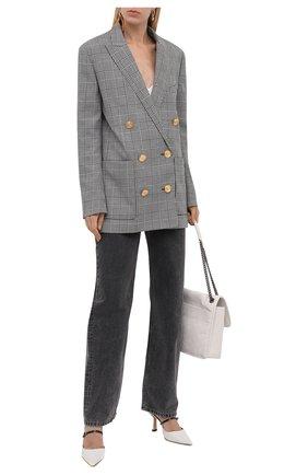 Женский двубортный жакет BALMAIN черно-белого цвета, арт. WF1SH010/W131   Фото 2 (Материал подклада: Вискоза; Материал внешний: Шерсть, Синтетический материал; Стили: Гламурный; Случай: Повседневный; Женское Кросс-КТ: Жакет-одежда; 1-2-бортные: Двубортные; Длина (для топов): Удлиненные; Рукава: Длинные)