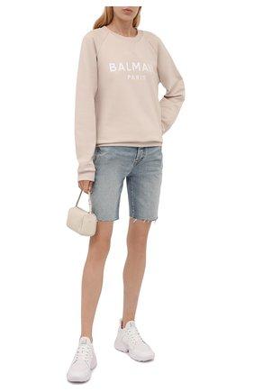 Женский хлопковый свитшот BALMAIN бежевого цвета, арт. WF1JQ000/B091 | Фото 2 (Материал внешний: Хлопок; Длина (для топов): Стандартные; Рукава: Длинные; Стили: Спорт-шик; Женское Кросс-КТ: Свитшот-одежда)