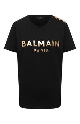 Женская хлопковая футболка BALMAIN черного цвета, арт. WF1EF005/B097   Фото 1 (Рукава: Короткие; Материал внешний: Хлопок; Длина (для топов): Стандартные; Стили: Спорт-шик; Принт: С принтом; Женское Кросс-КТ: Футболка-одежда)