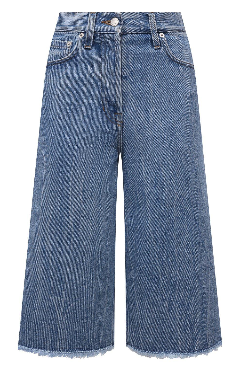 Женские джинсовые шорты DRIES VAN NOTEN синего цвета, арт. 212-032406-3381 | Фото 1 (Женское Кросс-КТ: Шорты-одежда; Стили: Гламурный; Кросс-КТ: Деним, Широкие; Материал внешний: Хлопок; Длина Ж (юбки, платья, шорты): Миди)