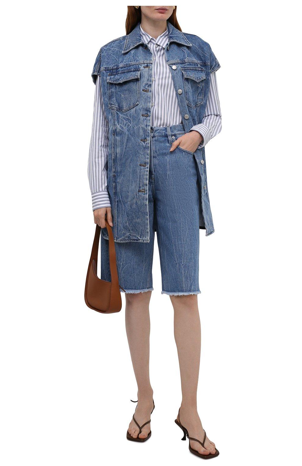 Женские джинсовые шорты DRIES VAN NOTEN синего цвета, арт. 212-032406-3381 | Фото 2 (Женское Кросс-КТ: Шорты-одежда; Стили: Гламурный; Кросс-КТ: Деним, Широкие; Материал внешний: Хлопок; Длина Ж (юбки, платья, шорты): Миди)