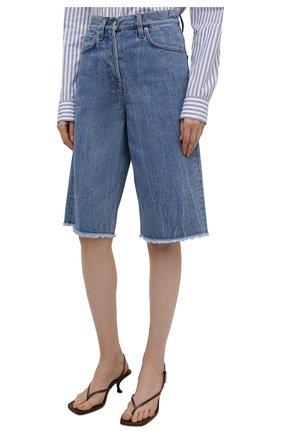 Женские джинсовые шорты DRIES VAN NOTEN синего цвета, арт. 212-032406-3381 | Фото 3 (Женское Кросс-КТ: Шорты-одежда; Стили: Гламурный; Кросс-КТ: Деним, Широкие; Материал внешний: Хлопок; Длина Ж (юбки, платья, шорты): Миди)