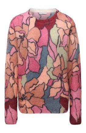 Женский шерстяной пуловер DRIES VAN NOTEN розового цвета, арт. 212-031238-3720 | Фото 1 (Материал внешний: Синтетический материал, Шерсть; Стили: Романтичный; Женское Кросс-КТ: Пуловер-одежда; Рукава: Длинные; Длина (для топов): Стандартные)