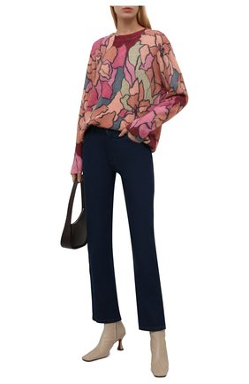 Женский шерстяной пуловер DRIES VAN NOTEN розового цвета, арт. 212-031238-3720 | Фото 2 (Материал внешний: Синтетический материал, Шерсть; Стили: Романтичный; Женское Кросс-КТ: Пуловер-одежда; Рукава: Длинные; Длина (для топов): Стандартные)