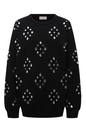 Женский хлопковый пуловер DRIES VAN NOTEN черного цвета, арт. 212-031136-3608   Фото 1 (Длина (для топов): Стандартные; Рукава: Длинные; Материал внешний: Хлопок; Стили: Гламурный; Женское Кросс-КТ: Пуловер-одежда)