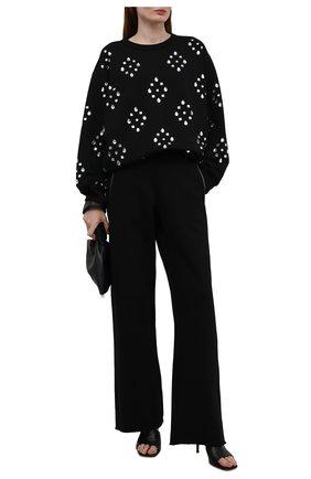 Женский хлопковый пуловер DRIES VAN NOTEN черного цвета, арт. 212-031136-3608   Фото 2 (Длина (для топов): Стандартные; Рукава: Длинные; Материал внешний: Хлопок; Стили: Гламурный; Женское Кросс-КТ: Пуловер-одежда)
