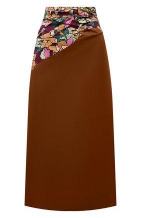 Женская хлопковая юбка DRIES VAN NOTEN коричневого цвета, арт. 212-030885-3150   Фото 1 (Материал внешний: Хлопок; Длина Ж (юбки, платья, шорты): Миди; Материал подклада: Вискоза; Стили: Романтичный; Женское Кросс-КТ: Юбка-одежда)