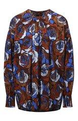 Женская хлопковая блузка DRIES VAN NOTEN синего цвета, арт. 212-030764-3076   Фото 1