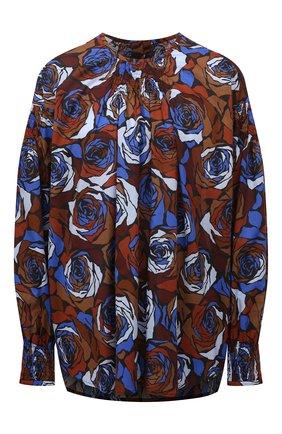 Женская хлопковая блузка DRIES VAN NOTEN синего цвета, арт. 212-030764-3076   Фото 1 (Рукава: Длинные; Длина (для топов): Удлиненные; Материал внешний: Хлопок; Стили: Романтичный; Женское Кросс-КТ: Блуза-одежда; Принт: С принтом)