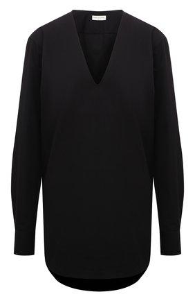 Женская хлопковая блузка DRIES VAN NOTEN черного цвета, арт. 212-030724-3013 | Фото 1 (Длина (для топов): Удлиненные; Материал внешний: Хлопок; Рукава: Длинные; Стили: Кэжуэл; Женское Кросс-КТ: Блуза-одежда; Принт: Без принта)
