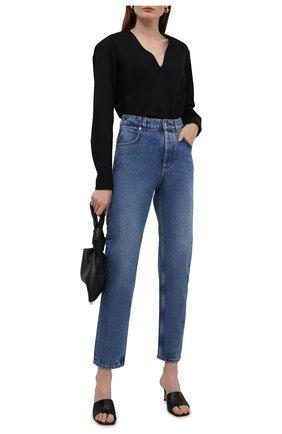 Женская хлопковая блузка DRIES VAN NOTEN черного цвета, арт. 212-030724-3013 | Фото 2 (Длина (для топов): Удлиненные; Материал внешний: Хлопок; Рукава: Длинные; Стили: Кэжуэл; Женское Кросс-КТ: Блуза-одежда; Принт: Без принта)