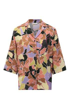 Женская рубашка DRIES VAN NOTEN оранжевого цвета, арт. 212-030705-3009   Фото 1 (Длина (для топов): Стандартные; Материал внешний: Синтетический материал; Стили: Романтичный; Принт: С принтом; Женское Кросс-КТ: Рубашка-одежда; Рукава: Короткие)