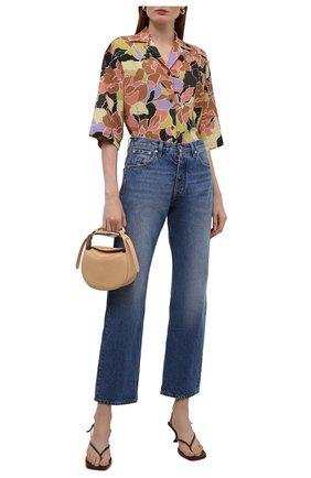 Женская рубашка DRIES VAN NOTEN оранжевого цвета, арт. 212-030705-3009   Фото 2 (Длина (для топов): Стандартные; Материал внешний: Синтетический материал; Стили: Романтичный; Принт: С принтом; Женское Кросс-КТ: Рубашка-одежда; Рукава: Короткие)