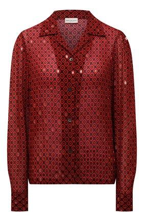 Женская блузка из вискозы DRIES VAN NOTEN красного цвета, арт. 212-030703-3005   Фото 1 (Рукава: Длинные; Материал внешний: Вискоза; Длина (для топов): Стандартные; Стили: Романтичный; Принт: С принтом; Женское Кросс-КТ: Блуза-одежда)