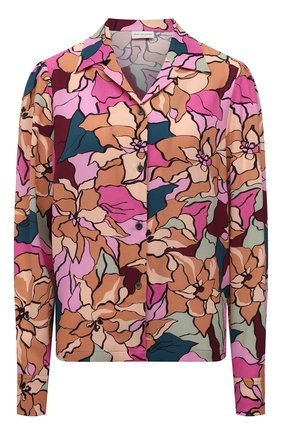 Женская рубашка DRIES VAN NOTEN разноцветного цвета, арт. 212-030702-3009   Фото 1 (Рукава: Длинные; Материал внешний: Синтетический материал; Длина (для топов): Стандартные; Стили: Романтичный; Принт: С принтом; Женское Кросс-КТ: Рубашка-одежда)