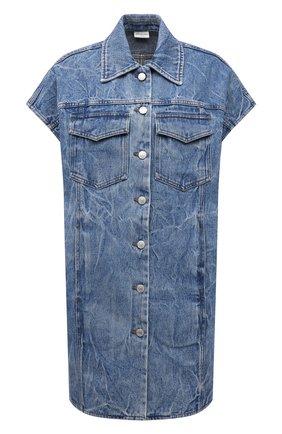 Женская джинсовая рубашка DRIES VAN NOTEN синего цвета, арт. 212-030505-3381 | Фото 1 (Длина (для топов): Удлиненные; Рукава: Короткие; Материал внешний: Хлопок; Стили: Минимализм; Кросс-КТ: Деним; Принт: Без принта; Женское Кросс-КТ: Рубашка-одежда)