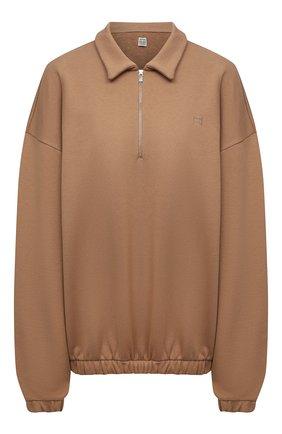 Женский хлопковый пуловер TOTÊME коричневого цвета, арт. 213-457-773 | Фото 1