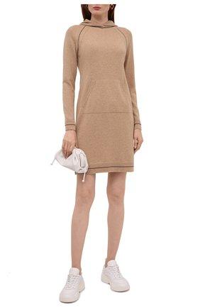 Женское кашемировое платье LORO PIANA бежевого цвета, арт. FAL7210   Фото 2