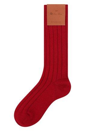 Женские кашемировые носки LORO PIANA красного цвета, арт. FAF8553 | Фото 1 (Материал внешний: Кашемир, Шерсть)