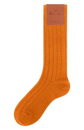 Женские кашемировые носки LORO PIANA оранжевого цвета, арт. FAF8553 | Фото 1