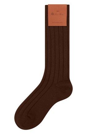 Женские кашемировые носки LORO PIANA коричневого цвета, арт. FAF8553 | Фото 1