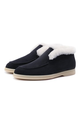 Женские замшевые ботинки LORO PIANA темно-синего цвета, арт. FAL7979 | Фото 1 (Материал утеплителя: Натуральный мех; Подошва: Плоская; Женское Кросс-КТ: Зимние ботинки, Без шнуровки-ботинки; Каблук высота: Низкий; Материал внешний: Замша)