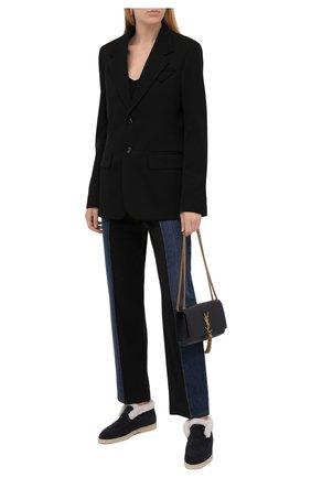 Женские замшевые ботинки LORO PIANA темно-синего цвета, арт. FAL7979 | Фото 2 (Материал утеплителя: Натуральный мех; Подошва: Плоская; Женское Кросс-КТ: Зимние ботинки, Без шнуровки-ботинки; Каблук высота: Низкий; Материал внешний: Замша)