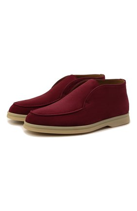 Женские замшевые ботинки open walk LORO PIANA бордового цвета, арт. FAE9959   Фото 1