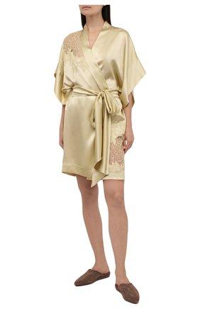 Женский шелковый халат CARINE GILSON золотого цвета, арт. BB0955JS W21 | Фото 2