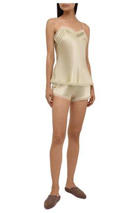 Женские шелковые шорты CARINE GILSON золотого цвета, арт. BB0768ES W21 | Фото 2