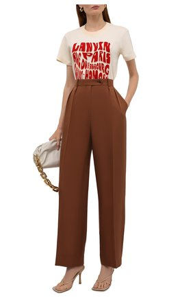Женская хлопковая футболка LANVIN кремвого цвета, арт. RW-TS0019-J081-A21 | Фото 2
