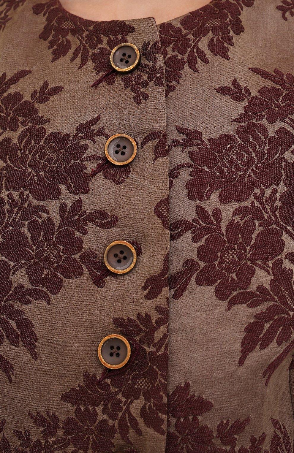 Женский жилет изо льна и шелка UMA WANG бордового цвета, арт. W1 M UP6022   Фото 5 (Женское Кросс-КТ: Жилет-одежда; Материал внешний: Лен; Длина (верхняя одежда): Короткие; Материал подклада: Вискоза; Стили: Романтичный)