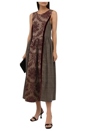 Женское платье изо льна и шелка UMA WANG бордового цвета, арт. W1 M UP5020 | Фото 2 (Длина Ж (юбки, платья, шорты): Миди; Материал внешний: Лен; Стили: Романтичный; Случай: Вечерний; Женское Кросс-КТ: Платье-одежда)