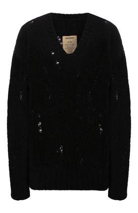 Женский шерстяной свитер UMA WANG черного цвета, арт. W1 M UK7178 | Фото 1 (Рукава: Длинные; Материал внешний: Шерсть; Длина (для топов): Стандартные; Стили: Кэжуэл; Женское Кросс-КТ: Свитер-одежда)