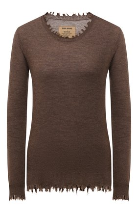 Женский кашемировый пуловер UMA WANG бежевого цвета, арт. W1 M UK7154 | Фото 1 (Материал внешний: Шерсть, Кашемир; Длина (для топов): Стандартные; Рукава: Длинные; Стили: Кэжуэл; Женское Кросс-КТ: Пуловер-одежда)