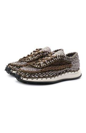 Мужские текстильные кроссовки crochet VALENTINO хаки цвета, арт. WY2S0E41/ZXB | Фото 1