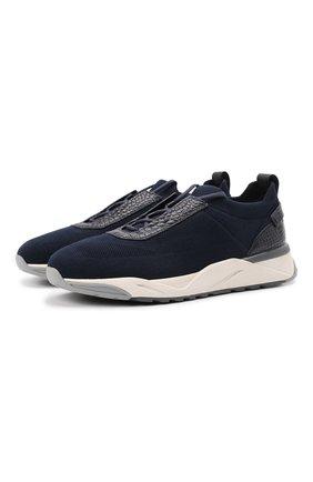 Мужские текстильные кроссовки с отделкой из кожи аллигатора SANTONI темно-синего цвета, арт. MBI021602BGRNHCCU60 | Фото 1
