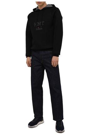 Мужские текстильные кроссовки с отделкой из кожи аллигатора SANTONI темно-синего цвета, арт. MBI021602BGRNHCCU60 | Фото 2