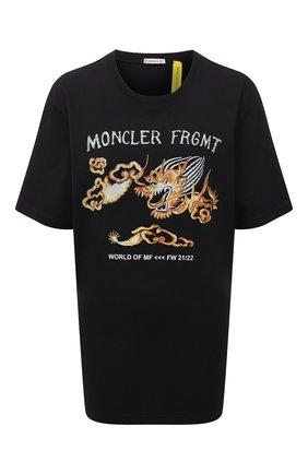 Мужская хлопковая футболка 7 moncler frgmt hiroshi fujiwara MONCLER GENIUS черного цвета, арт. G2-09U-8C000-06-8392B | Фото 1 (Длина (для топов): Стандартные; Рукава: Короткие; Материал внешний: Хлопок; Принт: С принтом; Стили: Гранж)