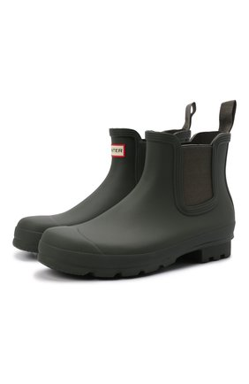 Мужские резиновые сапоги HUNTER хаки цвета, арт. MFS9116RMA | Фото 1 (Материал внутренний: Текстиль; Кросс-КТ: резиновые; Подошва: Плоская; Мужское Кросс-КТ: Сапоги-обувь, Челси-обувь; Материал внешний: Резина)