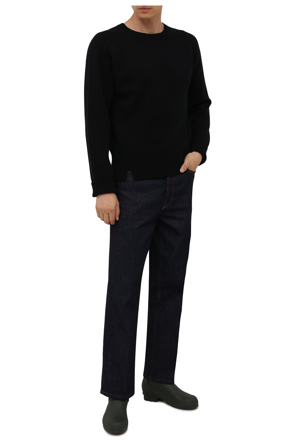 Мужские резиновые сапоги HUNTER хаки цвета, арт. MFS9116RMA | Фото 2 (Материал внутренний: Текстиль; Кросс-КТ: резиновые; Подошва: Плоская; Мужское Кросс-КТ: Сапоги-обувь, Челси-обувь; Материал внешний: Резина)