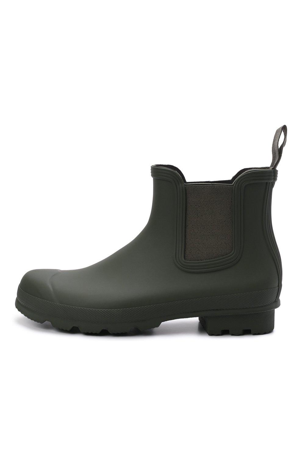 Мужские резиновые сапоги HUNTER хаки цвета, арт. MFS9116RMA | Фото 3 (Материал внутренний: Текстиль; Кросс-КТ: резиновые; Подошва: Плоская; Мужское Кросс-КТ: Сапоги-обувь, Челси-обувь; Материал внешний: Резина)