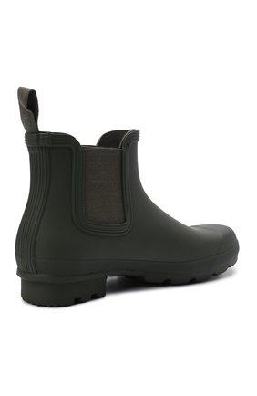 Мужские резиновые сапоги HUNTER хаки цвета, арт. MFS9116RMA | Фото 4 (Материал внутренний: Текстиль; Кросс-КТ: резиновые; Подошва: Плоская; Мужское Кросс-КТ: Сапоги-обувь, Челси-обувь; Материал внешний: Резина)