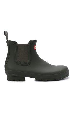 Мужские резиновые сапоги HUNTER хаки цвета, арт. MFS9116RMA | Фото 6 (Материал внутренний: Текстиль; Кросс-КТ: резиновые; Подошва: Плоская; Мужское Кросс-КТ: Сапоги-обувь, Челси-обувь; Материал внешний: Резина)