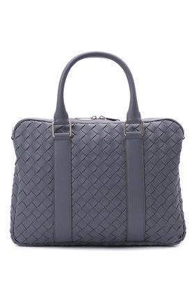 Мужская кожаная сумка для ноутбука BOTTEGA VENETA серого цвета, арт. 651580/V0E51 | Фото 1