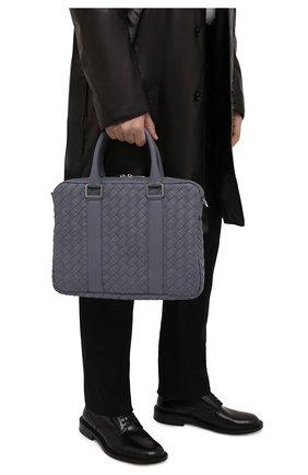 Мужская кожаная сумка для ноутбука BOTTEGA VENETA серого цвета, арт. 651580/V0E51 | Фото 2