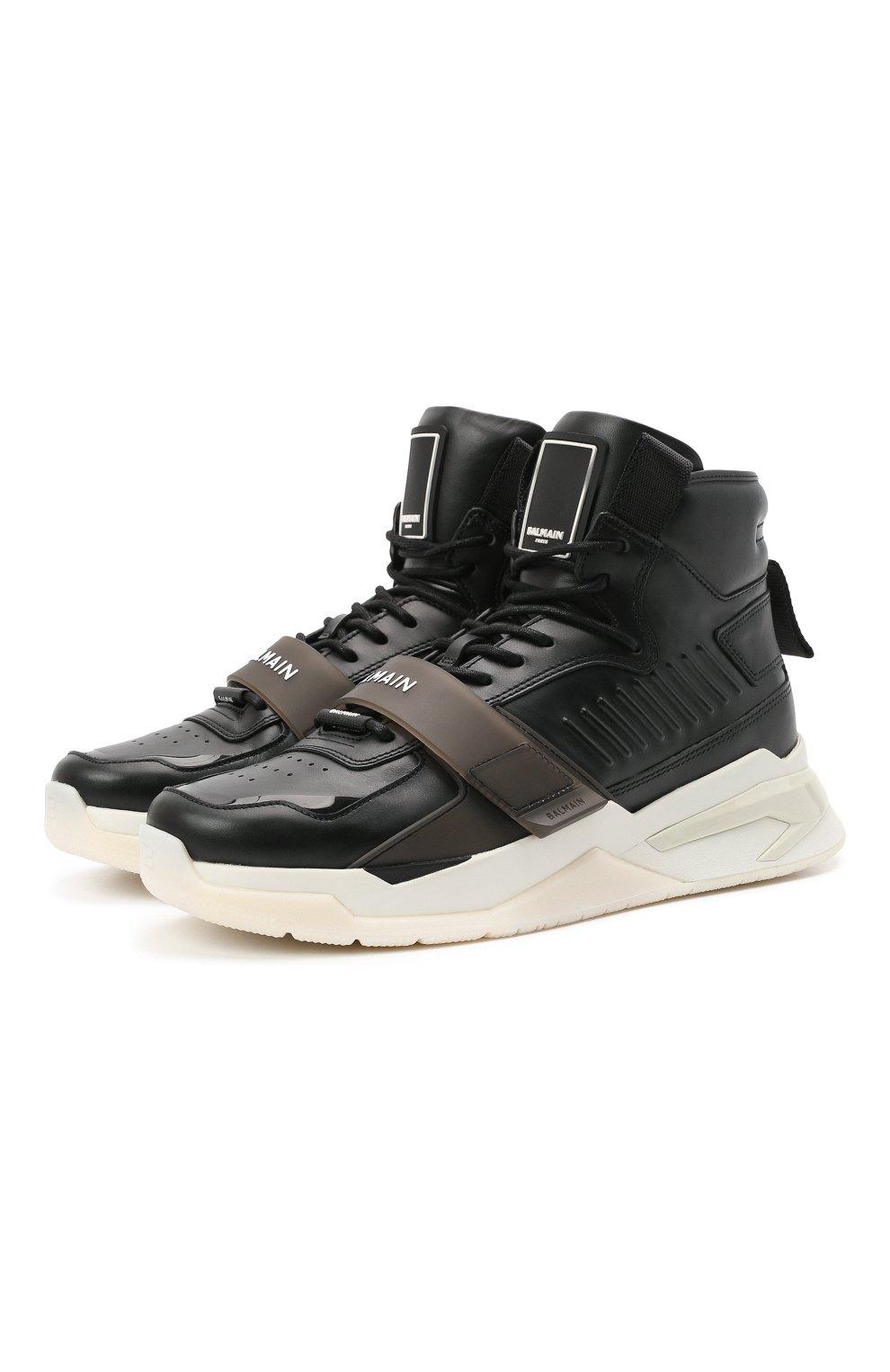 Мужские кожаные кроссовки b-ball BALMAIN черного цвета, арт. WM1VG230/LCTW   Фото 1 (Материал внутренний: Натуральная кожа; Стили: Гранж; Подошва: Массивная)