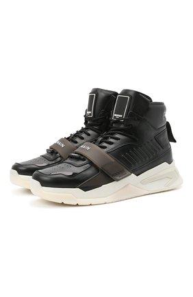 Мужские кожаные кроссовки b-ball BALMAIN черного цвета, арт. WM1VG230/LCTW | Фото 1
